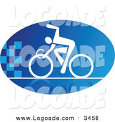 Clipart of a Blue and White Cyclist Logo by Vector Tradition SM