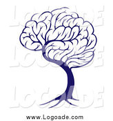 Clipart of a Blue Brain Tree Knowledge Logo by AtStockIllustration