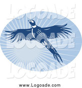 Clipart of a Blue Flying Pheasant and Sunshine Oval Logo by Patrimonio