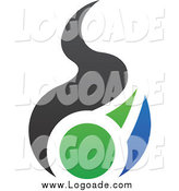 Clipart of a Blue, Green and Black Fire Logo by Cidepix