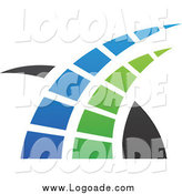 Clipart of a Blue, Green and Black Swoosh Logo by Cidepix