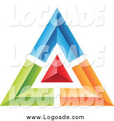 Clipart of a Blue, Green, Red and Orange Pyramid or Triangle Logo by Cidepix