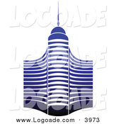 Clipart of a Blue Skyscraper Building Logo by Vector Tradition SM
