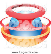 Clipart of a Blue Sphere in Red and Orange Logo by Cidepix