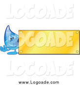 Clipart of a Blue Water Droplet Waving by a Blank Gold Plaque Utility Logo by Toons4Biz