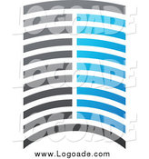 Clipart of a Blue White and Gray Urban Skyscraper Abstract Logo by Elena