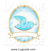 Clipart of a BlueBird and Oval over a Blank Banner by Mheld