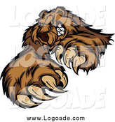 Clipart of a Clawing Brown Bear Logo by Chromaco