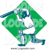Clipart of a Cricket Batsman over a Green Diamond Logo by Patrimonio
