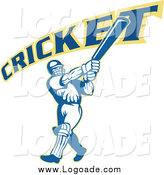 Clipart of a Cricket Player and Text Logo by Patrimonio