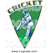 Clipart of a Cricket Player Batting in a Green Shield Logo by Patrimonio