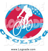 Clipart of a Cyclist on a Mountainous Circle Logo by Patrimonio