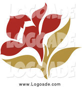 Clipart of a Dark Red and Green Flower Logo by Elena