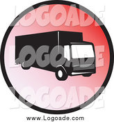 Clipart of a Delivery Truck on a Red Circle Logo by Patrimonio