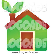 Clipart of a Eco Home with Leaves in the Chimney by Vector Tradition SM