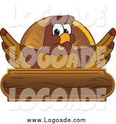 Clipart of a Falcon and Wooden Plaque Logo by Toons4Biz