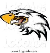 Clipart of a Fierce Bald Eagle Head Logo by Chromaco