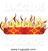 Clipart of a Flaming Banner Logo by Vectorace