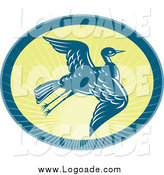 Clipart of a Flying Heron and Sunshine Logo by Patrimonio