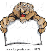 Clipart of a Friendly Brown Bear Holding out a Blank Sign Logo by Chromaco