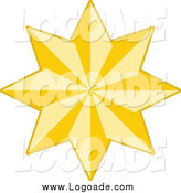 Clipart of a Golden Christmas Star Logo by KJ Pargeter