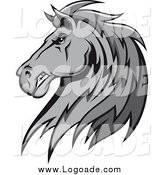 Clipart of a Gray Tough Stallion Head Logo by Vector Tradition SM