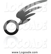 Clipart of a Gray Wing Logo by Elena