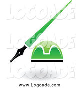 Clipart of a Green and Black Pen and Ink Well Logo by Cidepix