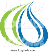 Clipart of a Green and Blue Ecology Droplet and Grass Blade Logo by Elena
