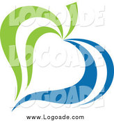 Clipart of a Green and Blue Ecology Leaf Logo by Elena