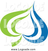 Clipart of a Green and Blue Leaf Logo by Elena