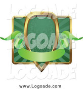 Clipart of a Green and Gold Banner Shield Frame with Copyspace by AtStockIllustration