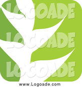 Clipart of a Green and White Leaf Logo by Elena