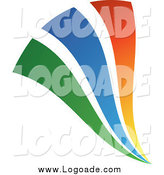 Clipart of a Green Blue and Orange Swooshes Logo by TA Images