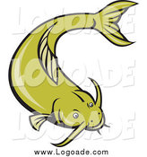 Clipart of a Green Catfish Swimming Logo by Patrimonio