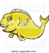 Clipart of a Green Happy Koi Fish Logo by Patrimonio