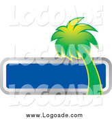 Clipart of a Green Palm Tree and Blank Blue Box Travel Logo by Lal Perera