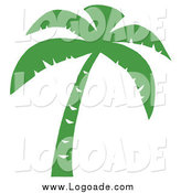 Clipart of a Green Palm Tree Silhouette by Hit Toon