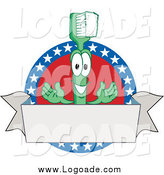 Clipart of a Green Toothbrush Mascot Logo with American Stars and a Blank Banner by Toons4Biz