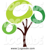 Clipart of a Green Tree Logo by Elena