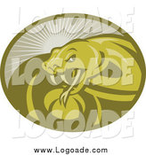 Clipart of a Green Viper Snake and Sun Rays Logo by Patrimonio