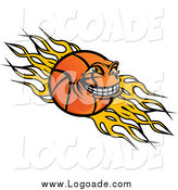 Clipart of a Grinning Basketball Character over Yellow Flames Sports Logo by Vector Tradition SM