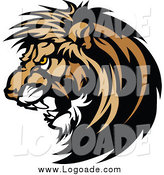 Clipart of a Growling Male Lion Logo by Chromaco