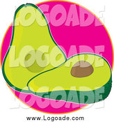 Clipart of a Halved Avocado on Pink Logo by Maria Bell