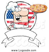 Clipart of a Happy American Male Chef Holding a Pizza over a Blank Banner and Flag by Hit Toon