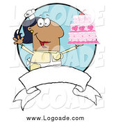 Clipart of a Hispanic Chef Woman Holding up a Cake over a Blank Banner and Blue Circle by Hit Toon