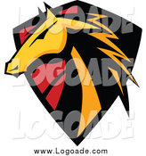 Clipart of a Horse Head Shield Logo by Chromaco