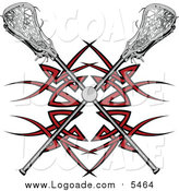 Clipart of a Lacrosse Ball and Crossed Sticks over a Red Tribal Design by Chromaco