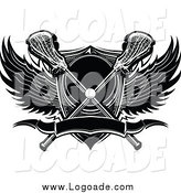 Clipart of a Lacrosse Ball with Crossed Sticks a Shield and Black and White Wings by Chromaco
