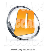 Clipart of a Letter O Logo in a Chrome and White Circle by Beboy